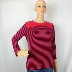 Chaps Medium Long Sleeve Red and Navy Stripped Top